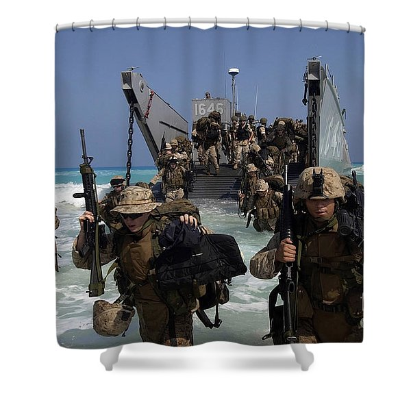 Marines Disembark A Landing Craft Shower Curtain by Stocktrek Images