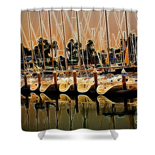 Masts Shower Curtain by Cheryl Young