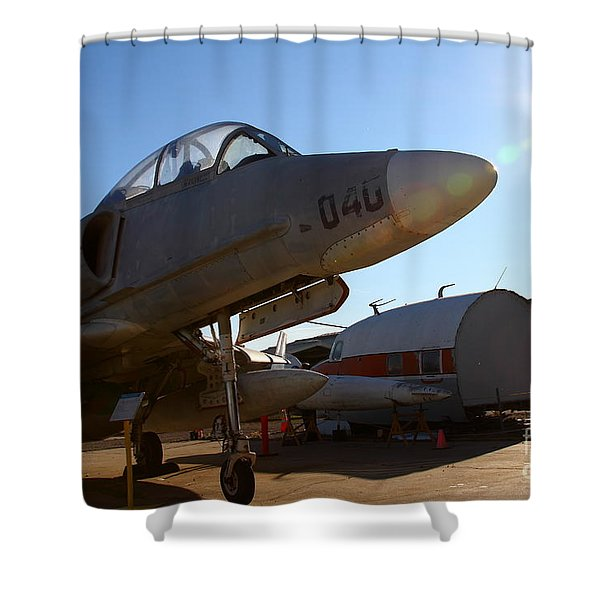 McDonnell Douglas TA-4J Skyhawk Aircraft Fighter Plane . 7D11302 Shower Curtain by Wingsdomain Art and Photography