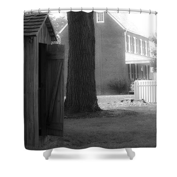 Meeks Outhouse Shower Curtain by Teresa Mucha