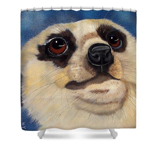 Meerkat Eyes Shower Curtain by Debbie LaFrance