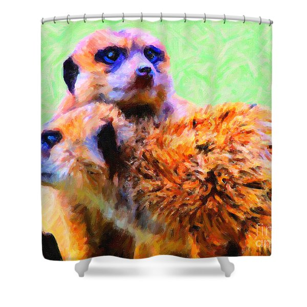 Meerkats . 7d4176 Shower Curtain by Wingsdomain Art and Photography