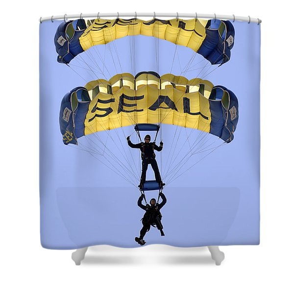 Members Of The U.s. Navy Parachute Shower Curtain by Stocktrek Images