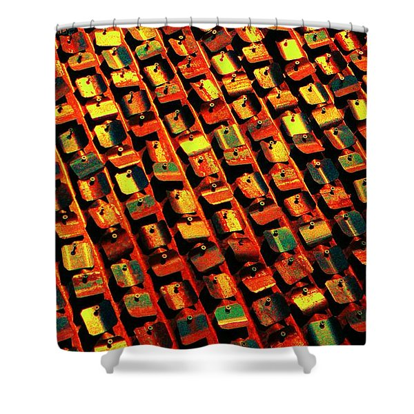 metal pop art Shower Curtain by Chris Berry