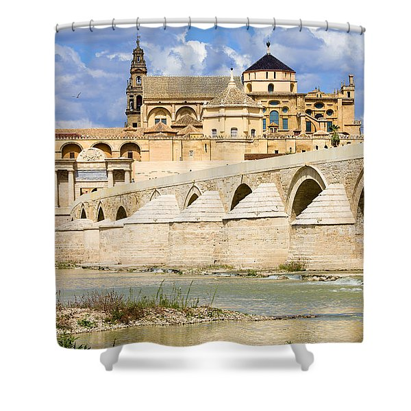 Mezquita Cathedral and Roman Bridge in Cordoba Shower Curtain by Artur Bogacki