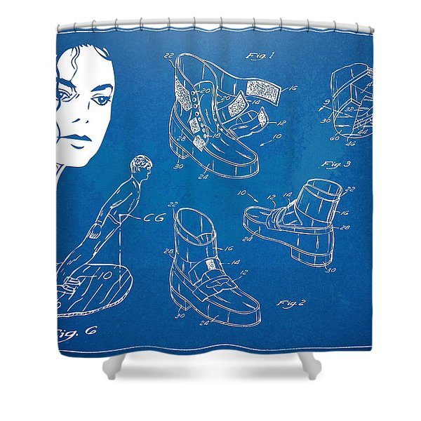 Michael Jackson Anti-Gravity Shoe Patent Artwork Shower Curtain by Nikki Marie Smith