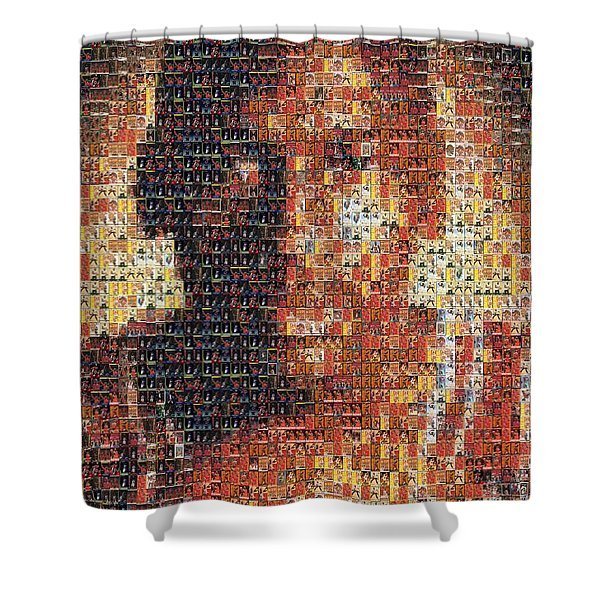 Michael Jordan Card Mosaic 1 Shower Curtain by Paul Van Scott