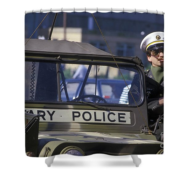 Military Policeman Stands Next Shower Curtain by Michael Wood