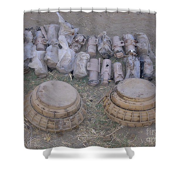 Mines And Grenades Shower Curtain by Stocktrek Images