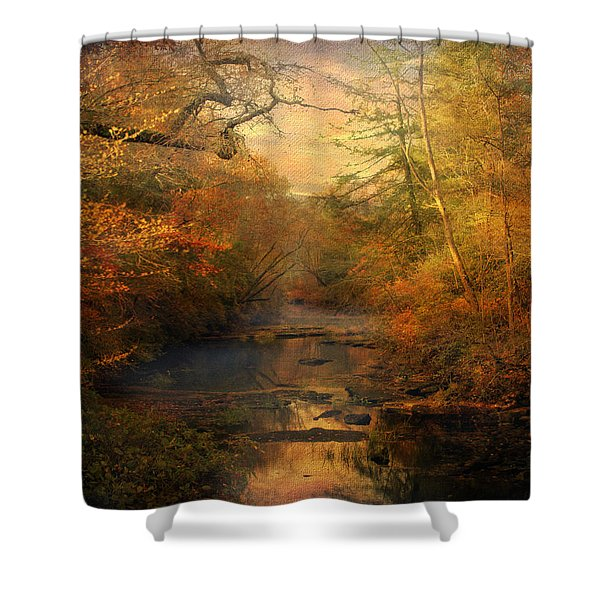 Misty Autumn Morning Shower Curtain by Jai Johnson
