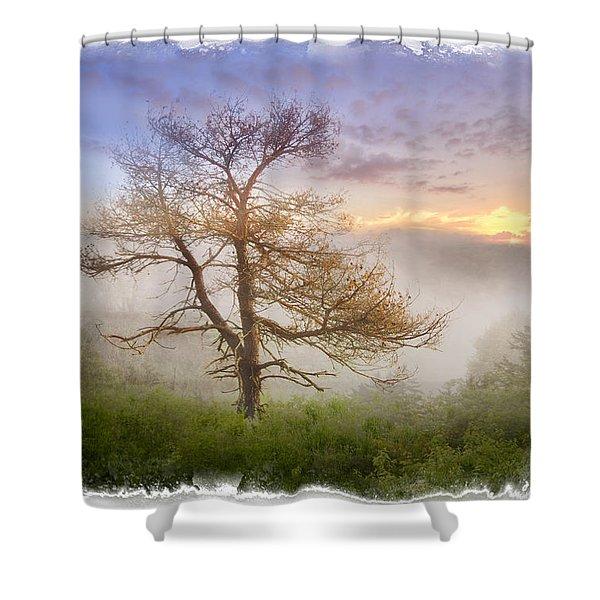 Misty Mountain Shower Curtain by Debra and Dave Vanderlaan