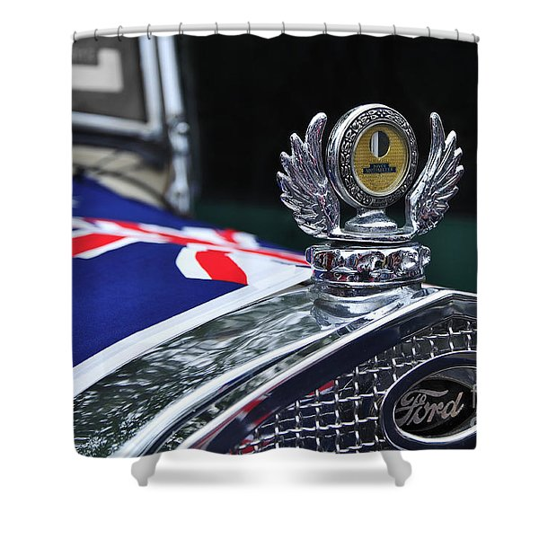 Model A Ford - Hood Ornament And Badge Shower Curtain by Kaye Menner