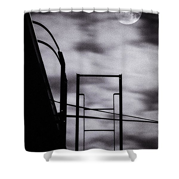 moon over brooklyn rooftop Shower Curtain by Gary Heller