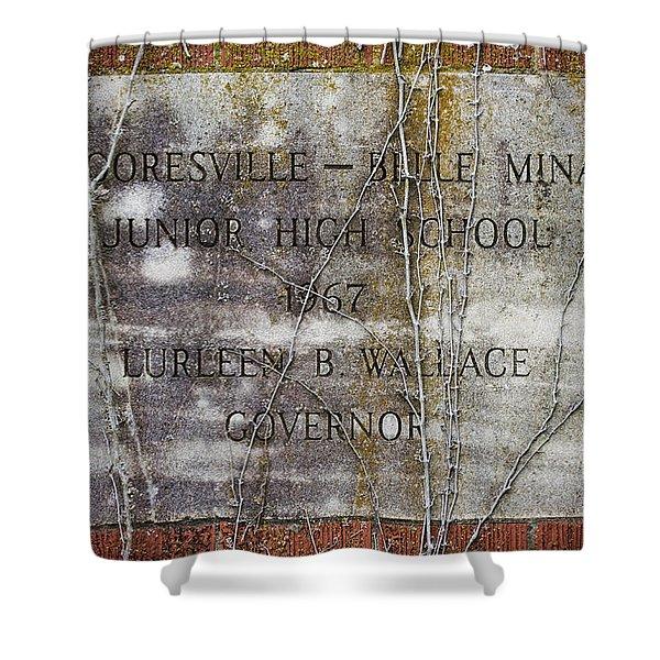 Mooresville - Belle Mina Junior High School 1967 Shower Curtain by Kathy Clark