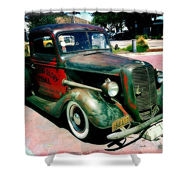Morning Glory Coal Truck Shower Curtain by Nina Prommer