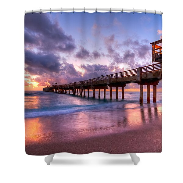 Morning Pier Shower Curtain by Debra and Dave Vanderlaan