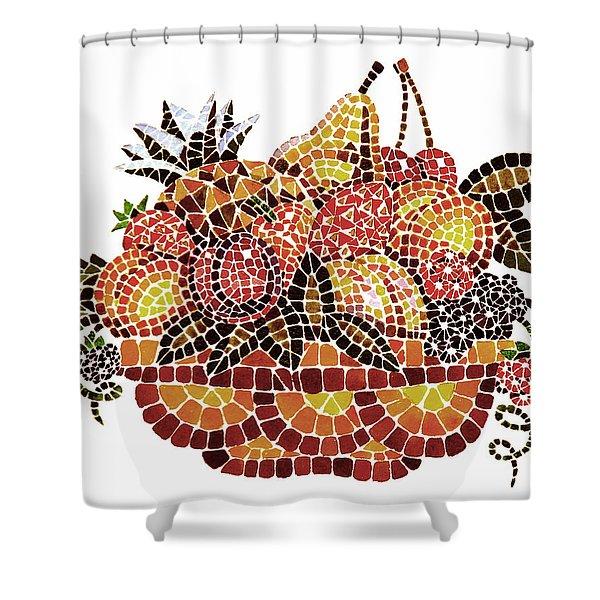 Mosaic Fruits Shower Curtain by Irina Sztukowski