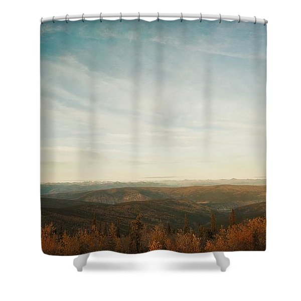 mountains as far as the eye can see Shower Curtain by Priska Wettstein