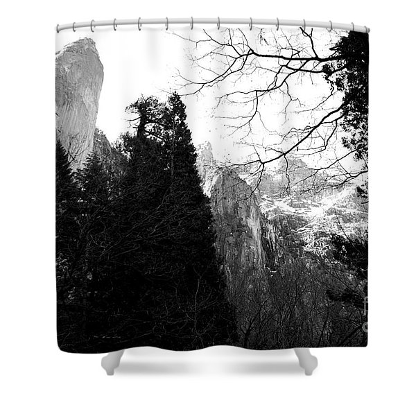 Mountains of Yosemite . 7D6213 . Black and White Shower Curtain by Wingsdomain Art and Photography