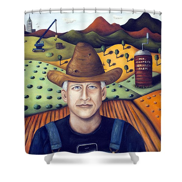 Mr Cooper's Spinach Farm Shower Curtain by Leah Saulnier The Painting Maniac