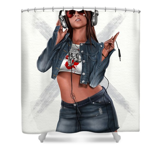 Music Is My Hot Hot Sex Shower Curtain by Pete Tapang