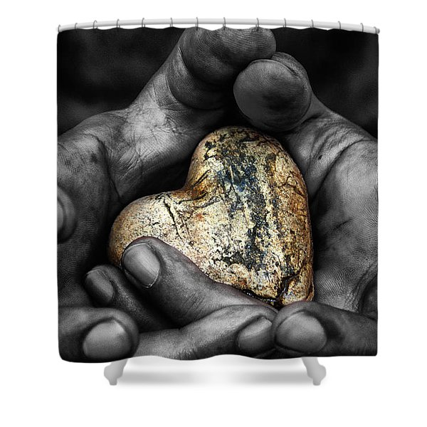 my hands your hard Shower Curtain by Stylianos Kleanthous