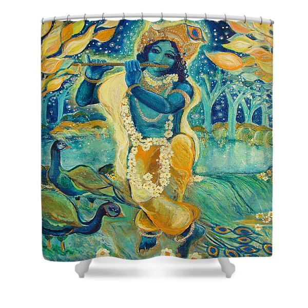 My Krishna Is Blue Shower Curtain by Ashleigh Dyan Bayer