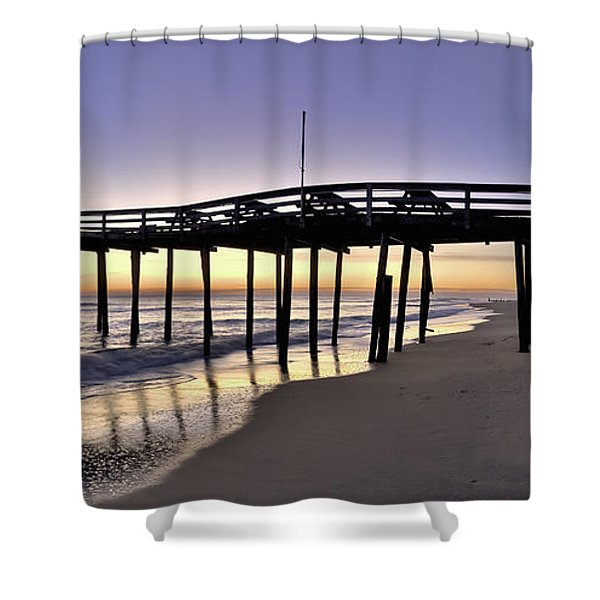 Nags Head Fishing Pier At Sunrise - Outer Banks Scenic Photography Shower Curtain by Rob Travis