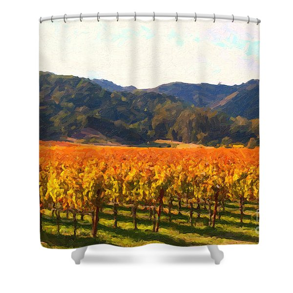 Napa Valley Vineyard in Autumn Colors Shower Curtain by Wingsdomain Art and Photography