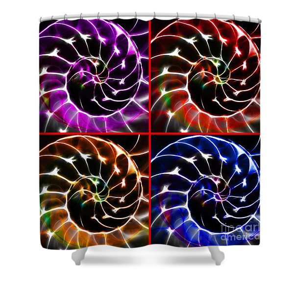 Nautilus Shell Ying and Yang - Electric - v1 - Four Squares Shower Curtain by Wingsdomain Art and Photography