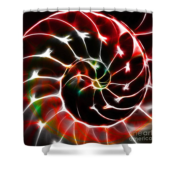 Nautilus Shell Ying and Yang - Electric - v1 - Red Shower Curtain by Wingsdomain Art and Photography