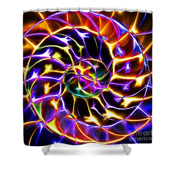 Nautilus Shell Ying and Yang - Electric - v2 - Yellow-Purple Shower Curtain by Wingsdomain Art and Photography