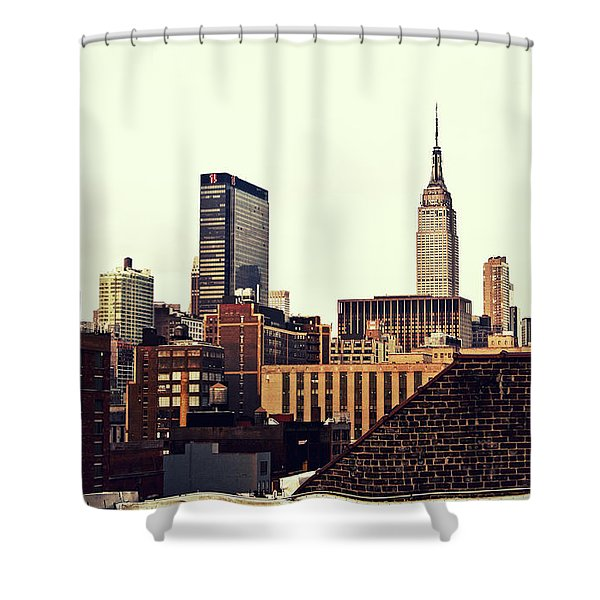 New York City Rooftops And The Empire State Building Shower Curtain by Vivienne Gucwa