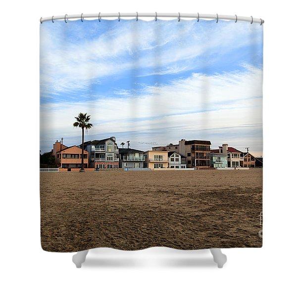 Newport Beach Oceanfront Houses Shower Curtain by Paul Velgos