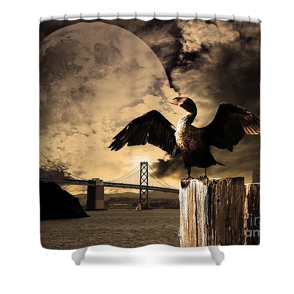 Night Of The Cormorant Shower Curtain by Wingsdomain Art and Photography