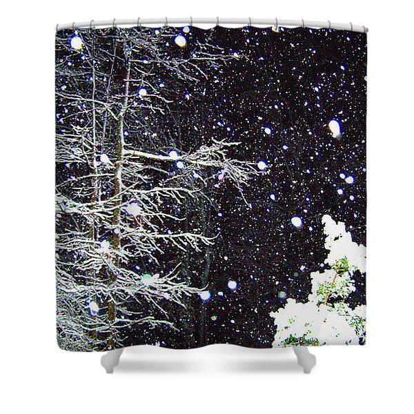 Night Snow Shower Curtain by Sandi OReilly