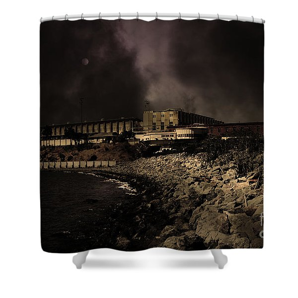 Nightfall Over Hard Time - San Quentin California State Prison - 5D18454 - Partial Sepia Shower Curtain by Wingsdomain Art and Photography