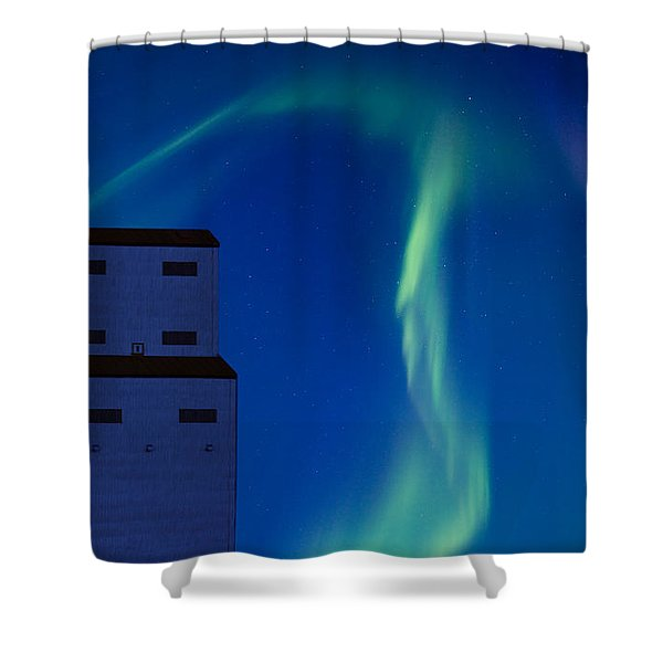 Northern Lights And Grain Elevator Shower Curtain by Mark Duffy