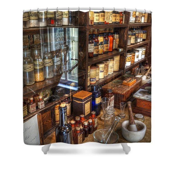 Nostalgia  Pharmacy Shower Curtain by Bob Christopher