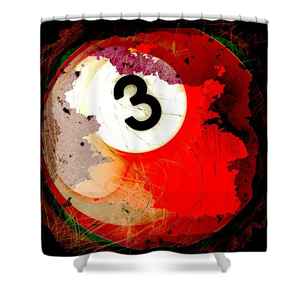 Number 3 Billiards Ball Shower Curtain by David G Paul