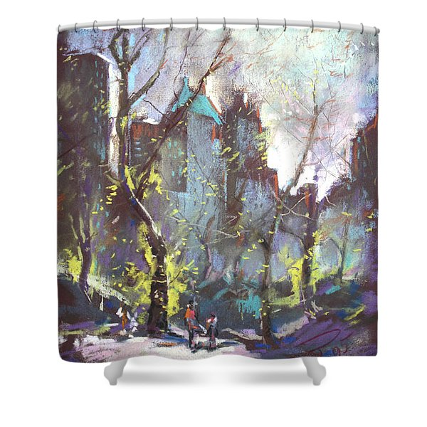 NYC Central Park Controluce Shower Curtain by Ylli Haruni