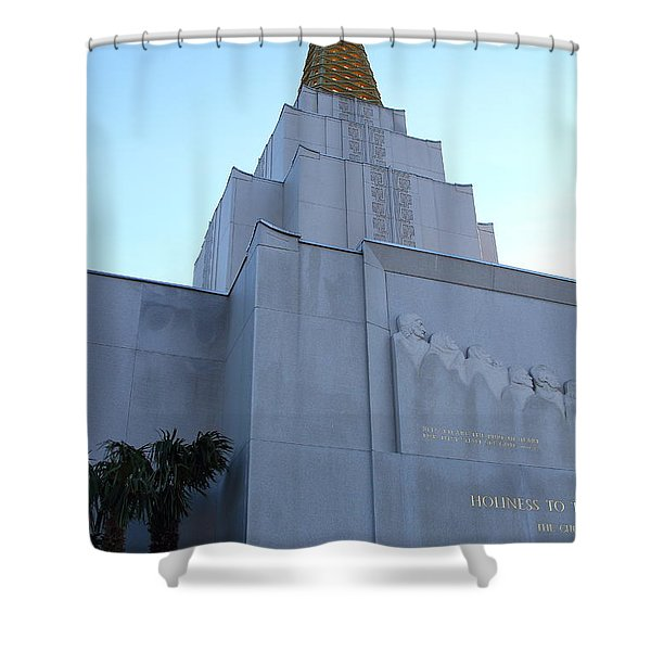 Oakland California Temple . The Church of Jesus Christ of Latter-Day Saints . 7D11364 Shower Curtain by Wingsdomain Art and Photography
