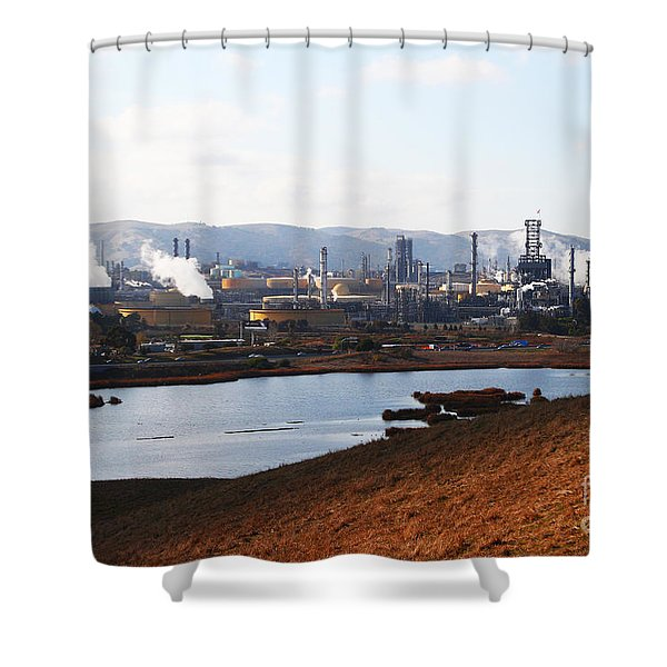 Oil Refinery Industrial Plant In Martinez California . 7d10393 Shower Curtain by Wingsdomain Art and Photography