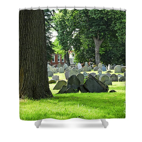 Old cemetery in Boston Shower Curtain by Elena Elisseeva