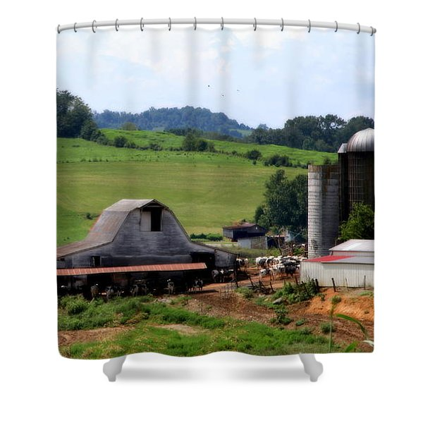 Old Dairy Barn Shower Curtain by KAREN WILES