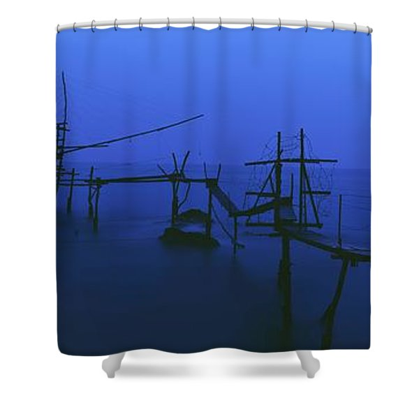 Old Fishing Platform Over Water At Dusk Shower Curtain by Axiom Photographic