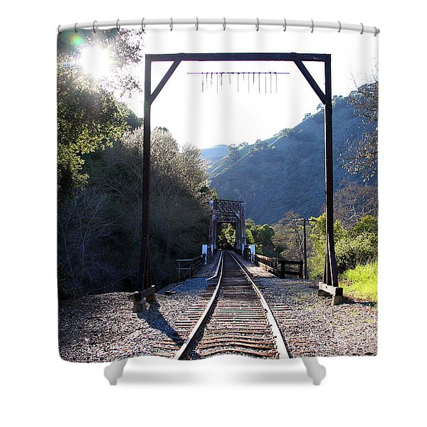 Old Railroad Bridge At Near Historic Niles District In California . 7d12747 Shower Curtain by Wingsdomain Art and Photography