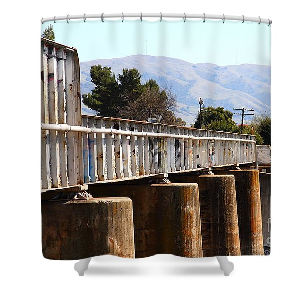 Old Railroad Bridge In Fremont California Near Historic Niles District In California . 7d12669 Shower Curtain by Wingsdomain Art and Photography
