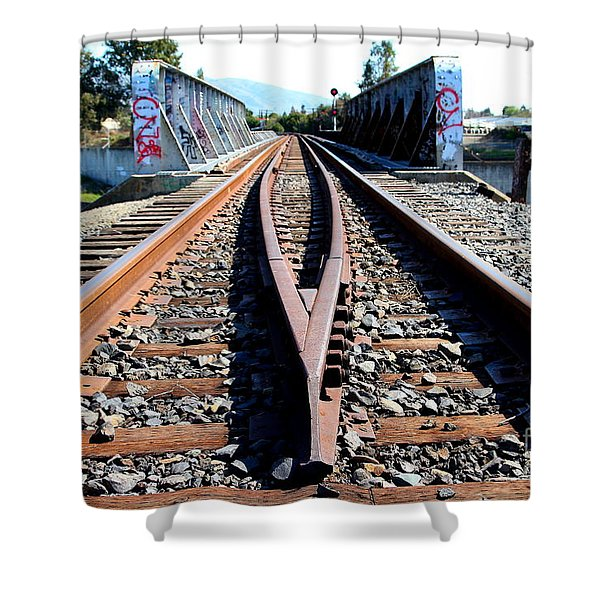Old Railroad Bridge In Fremont California Near Historic Niles District In California . 7d12678 Shower Curtain by Wingsdomain Art and Photography