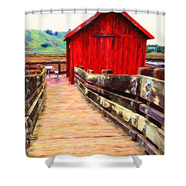 Old Red Shack Shower Curtain by Wingsdomain Art and Photography